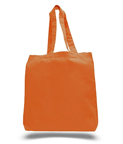 (3 Pack) Set of 3 Cotton Tote Bags Wholesale with Bottom Gusset (Orange)