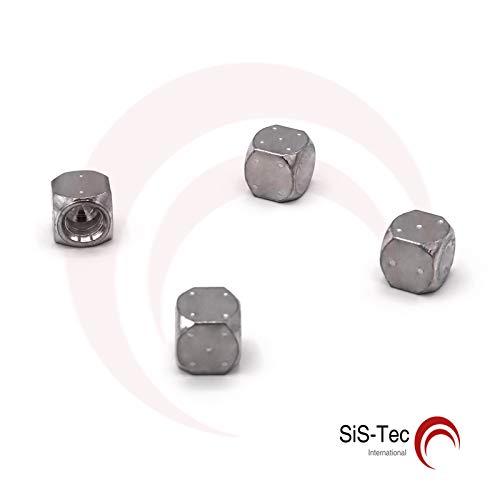 Alkan-Werkzeug - Tappi per valvole, in alluminio, per pneumatici e moto, 4 pz, colore: argento
