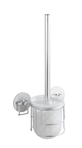 WENKO 18905100 Turbo-Loc WC-garnituur aluminium - bevestigen zonder boren, aluminium, 15 x 37 x 11,5 cm, mat