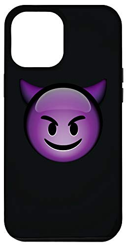 iPhone 12 Pro Max Cute Smiling Purple Devil Emoji Black Phone Case