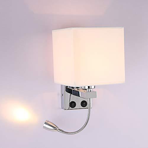ALLOMN Luz de la Mesilla de Noche, Lámpara de Pared de Lectura LED Lámpara de Pared Moderna con Foco de Cuello de Cisne Ajustable, Interruptores Dobles, Con Puerto USB para Cargar E27 (Una Luz 1 PC)