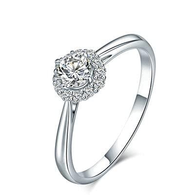 Bishilin Anillos de Oro Blanco 750 Alianza de Bodas de 18K, Flor Clásico Estilo 0.3 Diamante Anillo de Compromiso de Boda Aniversario Cumpleaños Platatamaño: 16