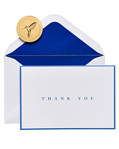 Papyrus Boxed Thank You Cards with Envelopes, Navy Border (20-Count)