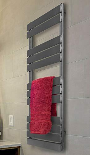 Radiador de baño, radiador de color antracita, montaje en pared, escalera de acero inoxidable, pintado en polvo, tamaño a elegir (150 x 45 cm)