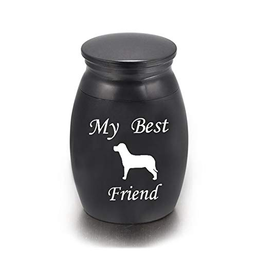 YJZZ Pet urna Titular del Gato del Perro de la cremación urnas de Acero Inoxidable Ash urnas Memorial del envase Lugar de Descanso de Almacenamiento de Suministros for Mascotas (Color : BK)