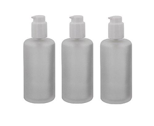 Mattglas, Gel-Spender Flasche, m. weißer Lotionspender, 100 ml Kosmetex Glas-Flasche, Flakon, leer, 3× 100 ml Gel-Spender