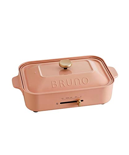 BRUNO ブルーノ コンパクトホットプレート 本体 プレート2種(たこ焼き 平面) ロシアンピンク Pink ピンク おすすめ おしゃれ かわいい これ1台 蓋 ふた付き 1200w 温度調節 洗いやすい 1人 2人 3人用 小型 小さいサイズ 少人数用 ひとり暮らしにも BOE021-RUPK