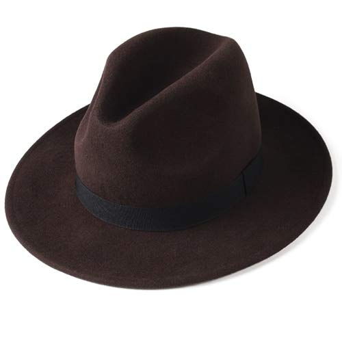 Fedora Hut für Frauen Männer Filz breit Krempe Hut Vintage Jazz Fedora Hut Paar Kappe Winter Chapeau Femme-Dark Brown 1-M 56-57.5cm
