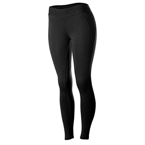HORZE Elsa Women's Silicone Knee Patch Tights, Tummy Control Compression Leggings for Horse Riding & Performance Sports | Black 30
