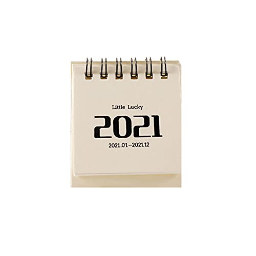 Mini Desk Calendar 2021 Standing Flip Daily Scheduler Monthly Table Agenda Organizer School Calendar Planner Strong Twin Wire Binding Pocket Pages Easel for Home Office (G)