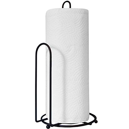 Blue Donuts Paper Towel Holder Countertop - Easy One-Handed Tear Paper Towel Holder, Farmhouse Paper Towel Holder, Black Paper Towel Dispenser Countertop
