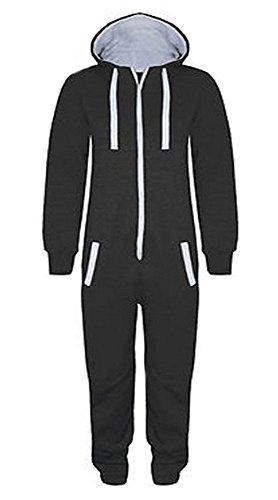 Kinder Jungen Mädchen Unisex Plain Strampler mit Kapuze In einem Jumpsuit Größen 7-14 Jahre Black & grau