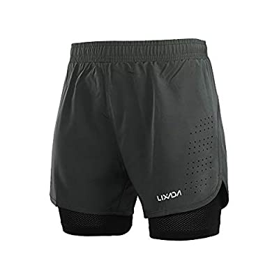 Lixada Men's 2-in-1 Running Shorts Quick Drying Breathable Active Training Exercise Jogging Cycling Shorts with Longer Liner & Reflective Elements, Black/Blue/Green/Grey