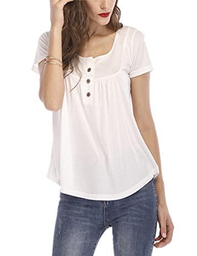Blusa Mujer Suelta Color Sólido Botón Plisado Tapeta Mujer Camisa Generosa Casual Clásico Transpirable Elasticidad Colocación Simplicidad Única Verano Mujer Top B-White 4XL