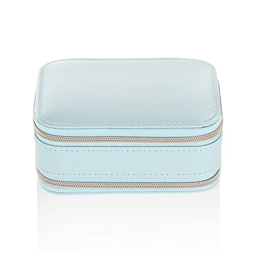 ASFSD Joyero portátil de viaje con cremalleras de regalo de joyería de cuero sintético para mujeres y niñas, anillos, collares, pulseras, organizador (azul)