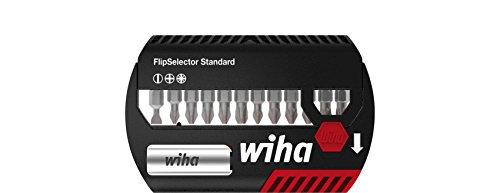 Wiha Bit Set FlipSelector Standard 25 mm sleuf, Phillips, Pozidriv 13-delig. 1/4 inch met riemclip in blister (39049), bithouder, set, openen met een druk op de knop, snelle bitwisseling, past in je broekzak.