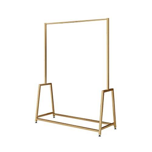 DENGSH Eisen Bodenständig Garderobenständer,Mode Robust Kleiderstange,Familie Geschäft Bekleidungsgeschäft Elegant/golden / 150 x 100cm