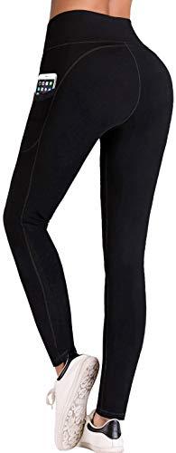 IUGA Sport Leggings Damen High Waist, Tummy Control, Sport Hose Damen Blickdichte Leggings Yogahose mit Taschen Schwarz L