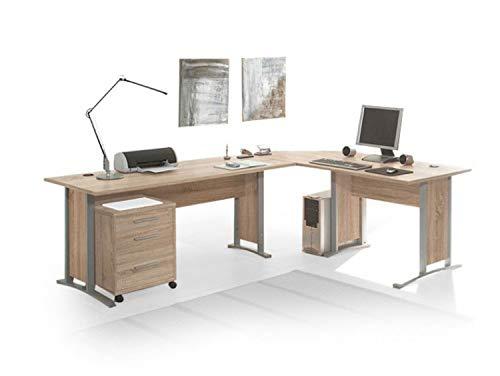 moebel-eins Office Line Winkelkombination Schreibtisch Ecktisch Tisch Bürotisch in Eiche Sonoma Dekor