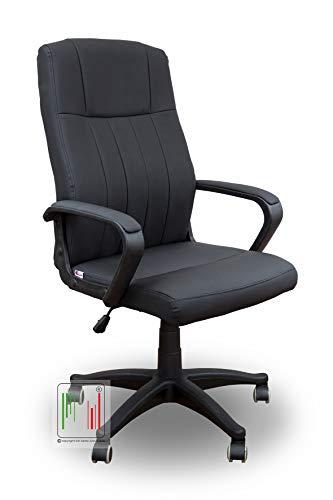 Stil Sedie - MOD Rio Poltrona da Ufficio per scrivania con Seduta in Ecopelle e Girevole con Base e braccioli in ABS