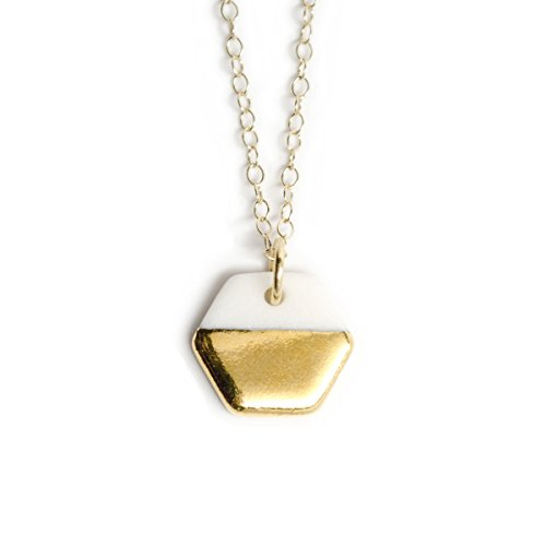 Hexagon Necklace, Handmade Gold and Porcelain with 14k Gold-filled Chain