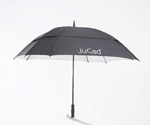 JuCad Golf TeleskopSchirm Windproof mit Stift I Caddys I Trolleys I Golfwagen schwarz