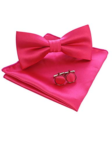 JEMYGINS Pink Fliege und Einstecktuch mit Manschettenknöpfe Sets für Herren Hochzeit Seidenfliegen(5)