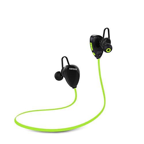 Arteck Drahtlose Bluetooth Kopfhörer zum Rennen, Schweißresistente Mobile Ohrhörer mit 15 Stunden Abspielzeit, Akku für iPhone Xr, Xs Max, X, 8, 7, Plus, SE, Android Smart Phones-Grüne