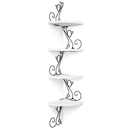 Alsonerbay Floating Corner Wood Shelves, 4 Tier Wall Mounted Rustic Storage Shelf, Cat Shaped Shelving for Wall, Solid Wooden Decor for Living Room, Bedroom, Kitchen, Bathroom, Office White