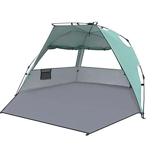 Qomolo Carpa de Playa para 3-4 Personas, UPF 50+ Tienda de Playa Automática Toldos Portátil, 200 x 120 x 120 cm, para Camping, Pesca, Picnic