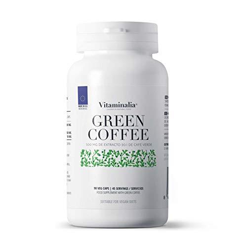 Café Verde de Vitaminalia   500mg - 50% Ácido Clorogénico   Ayuda a la Pérdida de Peso, Quemagrasas Natural   Apto Vegano, Sin Gluten, Sin Lactosa, 90 cápsulas vegetales