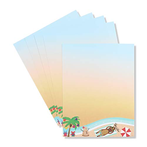 Beach Christmas Stationery Paper, Tanning Reindeer (Letter Size, 100 Sheets)