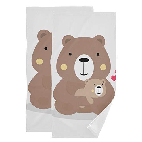 Juego de 2 Toallas Baby Bear Teddy Fashion Toallitas de Dibujos Animados Toalla Facial Absorbente Suave de Secado rápido Adecuado para baño Cocina Aseo Playa