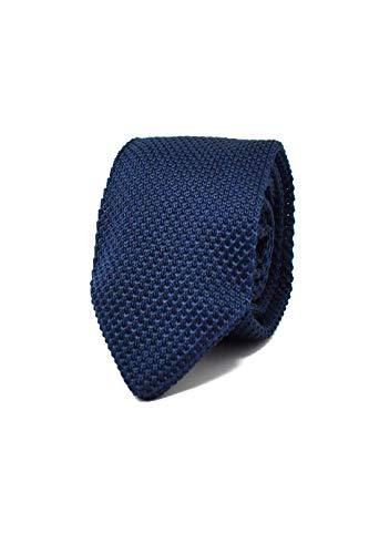 Hochwertige Gestrickte Dunkelblaue Strickkrawatte für Herren - 100% Seide - Klassisch, Elegant und Modern - (Ideal für ein Geschenk, Männer zum Geburtstag, eine Hochzeit, bei der Arbeit...)