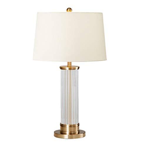 Eenvoudige kristalglas staande tafellamp, hardware smeedijzeren basis hoogwaardige linnen lampenkap leeslamp, slaapkamer werkkamer decoratie bureaulamp