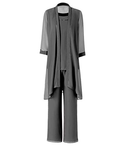 Pretygirl Damen 3 Stück Satin Chiffon Kleid für die Brautmutter Hose mit Jacke Outfit für Hochzeit Bräutigam(US cm, Grau)