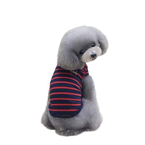 Xinger Hondenkleding voor kleine honden T-shirts Puppy Sport Voetbal Jersey Kat Gestreept Vest Outfit Lente Pet Coats, Rood, M
