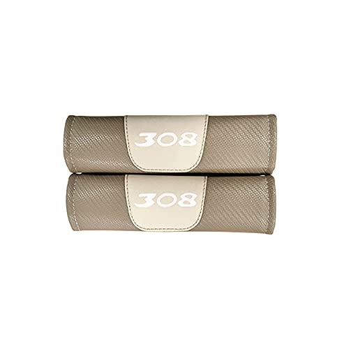 2 protectores de almohadillas de cinturón de seguridad de cuero de fibra de carbono para coche para Peugeot 308,almohadilla de hombro antideslizante suave y cómoda
