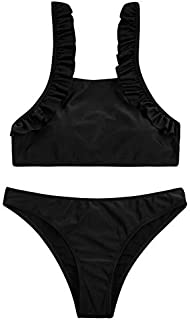 BEESCLOVER Bikinis Women Halter Top Swimsuit Padded Biquini Swimwear Ruffle Bathing Suit Beachwear