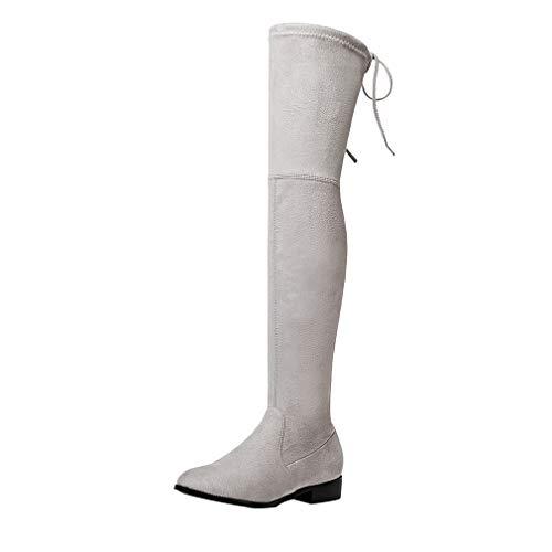 MISSUIT Damen Flache Overknee Stiefel Stretch Boots mit Schnürung Langschaftstiefel Herbst Winter Schuhe(Hellgrau,38)