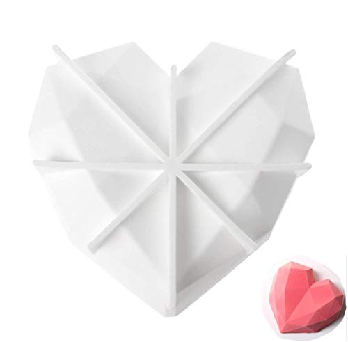 Upgraded 3rd Gen Diamond Heart Love Silicone Cake Mold with Exclusive secret recipe included: Silicone Oven Safe Chocolate Mousse Dessert Baking Pan 3D nonstick 7 inch topping 3gen