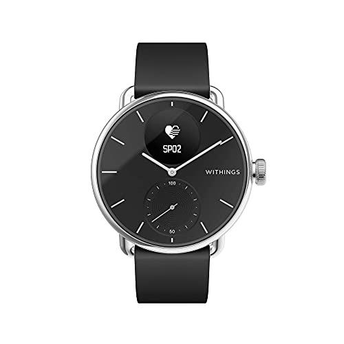 Withings ScanWatch - Reloj inteligente híbrido con ECG, tensiómetro y oxímetro, Negro, 38 mm
