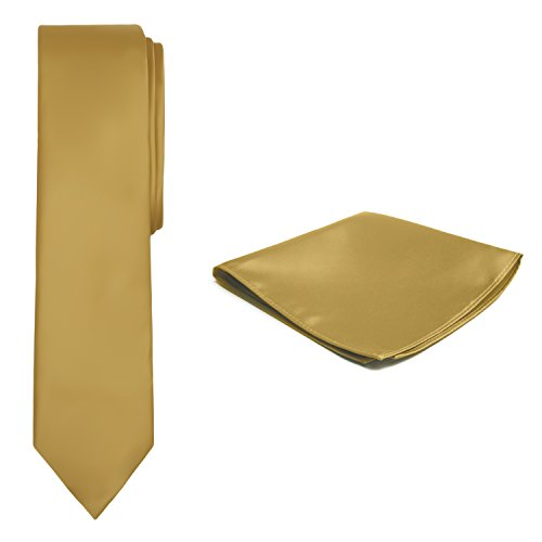 Jacob Alexander Solid Color Men's Skinny Tie and Hanky Set - Gold