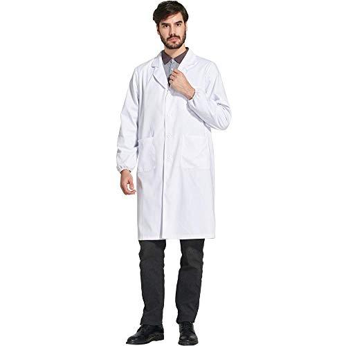 Icertag Bata de Laboratorio Unisex, médico Abrigo Abrigo de Hombre, Abrigo Blanco para, Adecuado para Estudiantes de la Escuela Laboratorio de Ciencia Enfermera Cosplay Vestido de algodón (Medium)