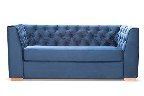 Canapé fixe 3 places Bleu Velours Vintage