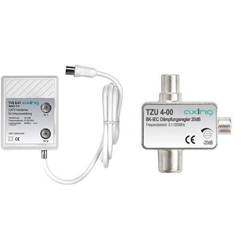 Axing TVS 8-01 Zwei-Geräte-Verstärker 12 dB für TV und Radio Kabelfernsehen DVB-C DVB-T &  TZU 4-00 BK-Dämpfungsregler mit IEC-Anschluss (0,5-20 dB)