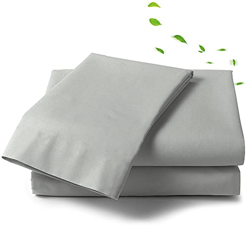 Queen Bed Sheet Set - Light Grey Sheets - 4 Piece Brushed Microfiber - Breathable Cool Crisp - Luxury Finish- Deep Mattress Pockets- Environment Friendly - Hotel Luxury Cooling Sheets