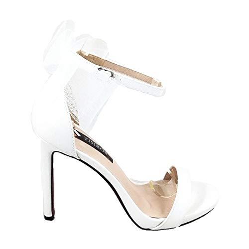 Timbos Zapatos - 121600 Sandalia Tacón Novia para Mujer, Color Blanco, Material Polipiel, Cierre Hebilla, Colección Novias