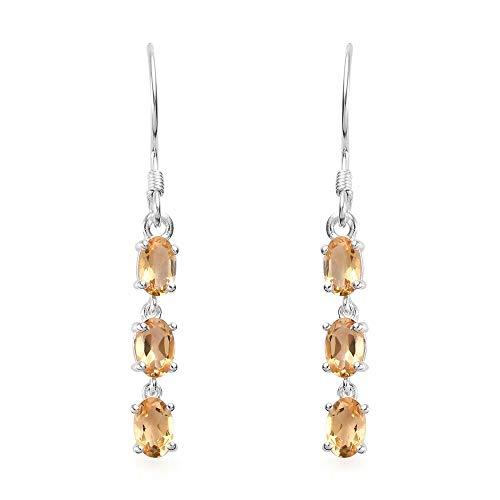 TJC 2.5 Ct Citrine Drop/Dangle Earrings for Women in 925 Sterling Silver