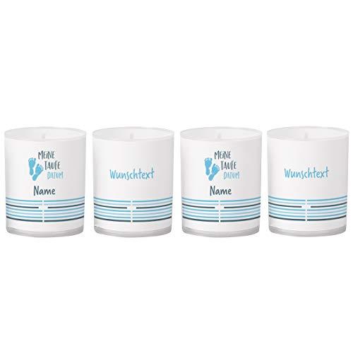 Striefchen® personalisierte Kerzen als Tischdekoration zur Taufe mit Foto und Name - 4 Stück Blau